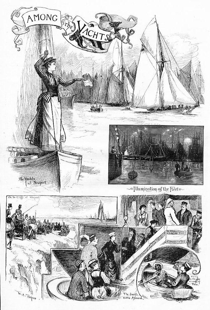YACHTS AT NEWPORT ILLUMINATION OF THE FLEET NAUTICAL YACHT SAILS SPECTATORS