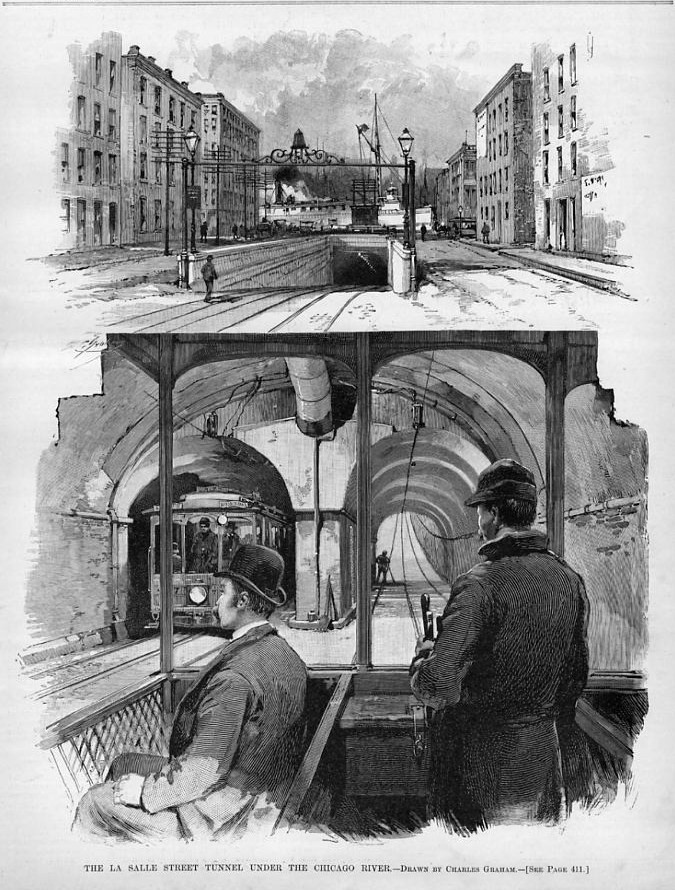 CHICAGO TUNNEL UNDER THE CHICAGO RIVER CONSTRUCTION WORK SHIP ANTIQUE ENGRAVING