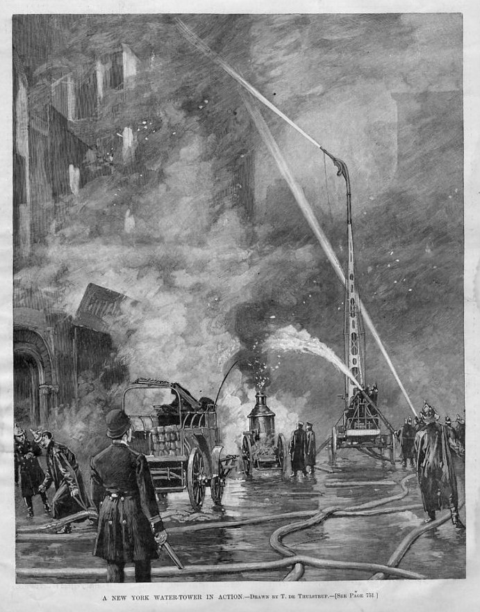 FIREFIGHTING FIREMEN ANTIQUE WATER-TOWER HOSE LADDER STEAM FIRE ENGINE HISTORY