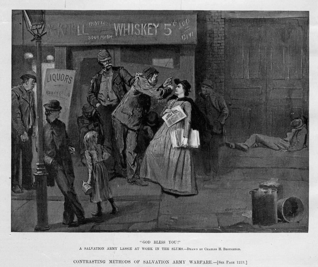 SALVATION ARMY WARFARE METHODS A LASSIE AT WORK IN THE SLUMS LIQUOR STORE DRUNK