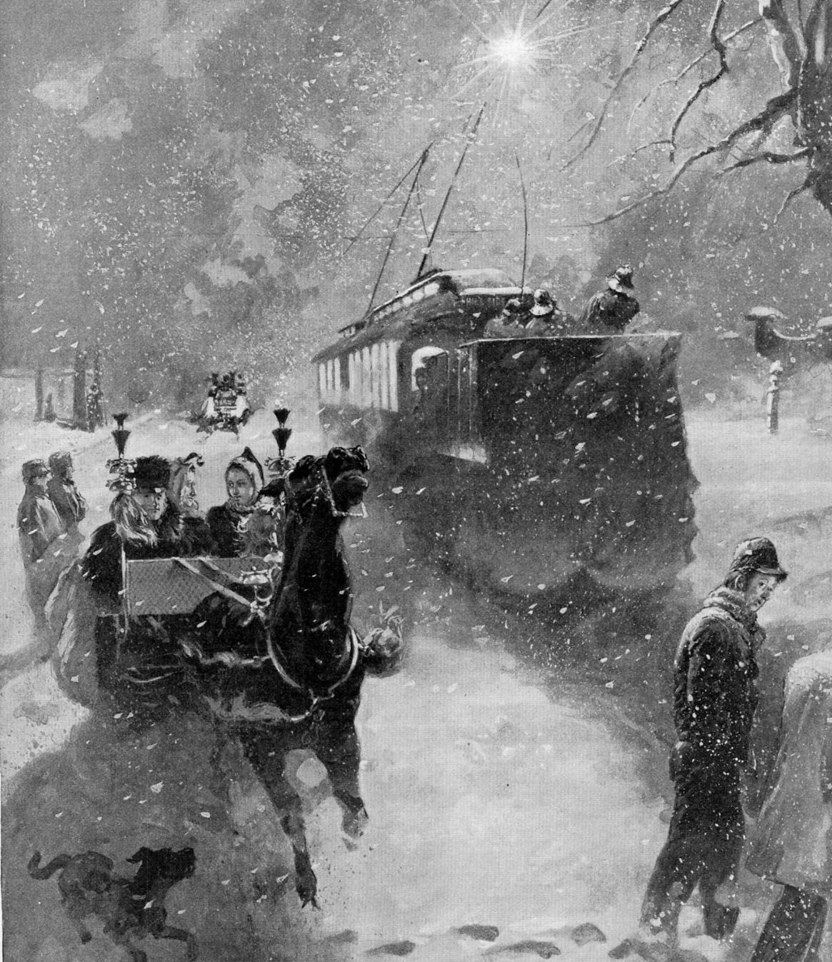 CLEARING SNOW BY ELECTRICITY TROLLY LINE SWEEPER HORSES CARRIAGE SNOWSTORM