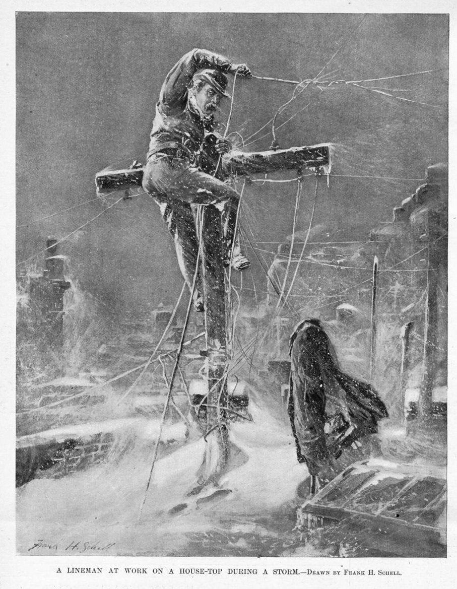 LINEMAN AT WORK TOP OF HOUSE DURING A STORM TELEGRAPH ELECTRIC ...