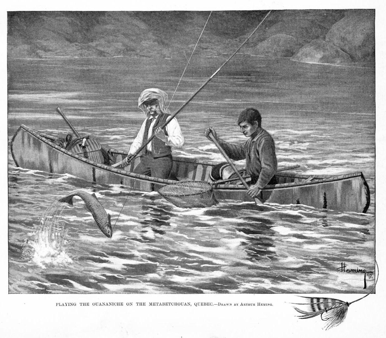 FLY FISHING FROM CANOE PADDLE QUEBEC GRILSE-ROD NET