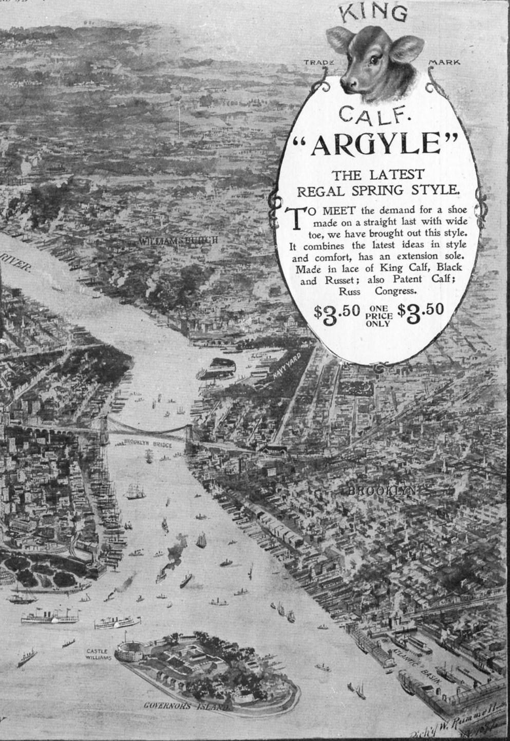 REGAL SHOE KING CALF ARGYLE NEW YORK BAY BROOKLYN BRIDGE STATUE OF LIBERTY