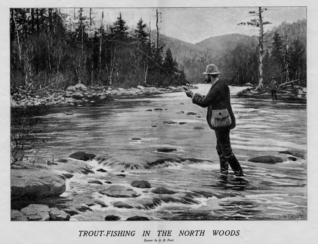 Details about TROUT FISHING IN THE NORTH WOODS BY A  B  FROST FLY FISHING  STREAM CREEL BASKET