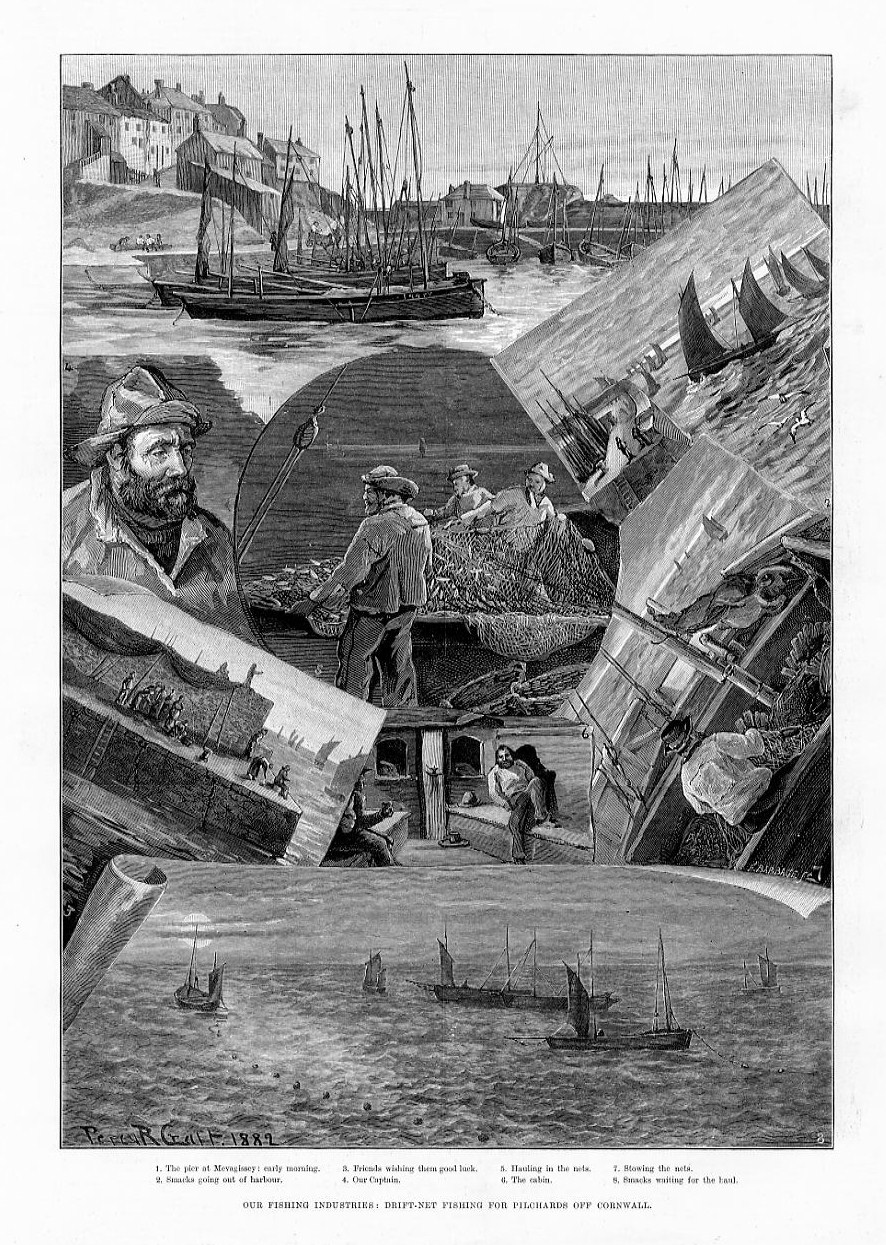 Drift net fishing antique engraving the boat captain for Drift net fishing