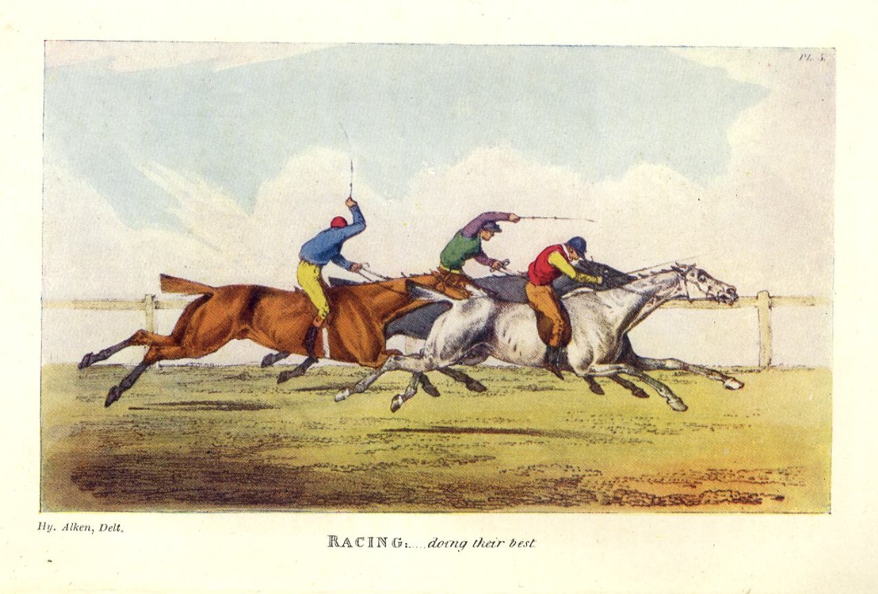 horse racing jockies whipping and spurring horses antique color print jockey