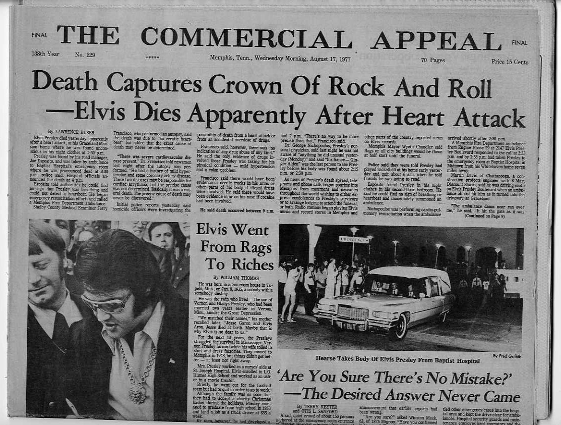 ELVIS PRESLEY DEAD ORIGINAL 1977 MEMPHIS NEWSPAPER SAD DAY ...
