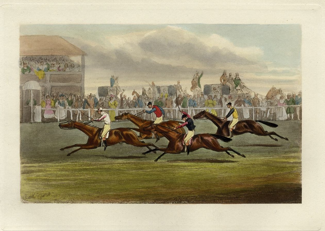 HORSE RACING JOCKEYS COLOR PRINT THE RACE FOR THE WELTER STAKES ...