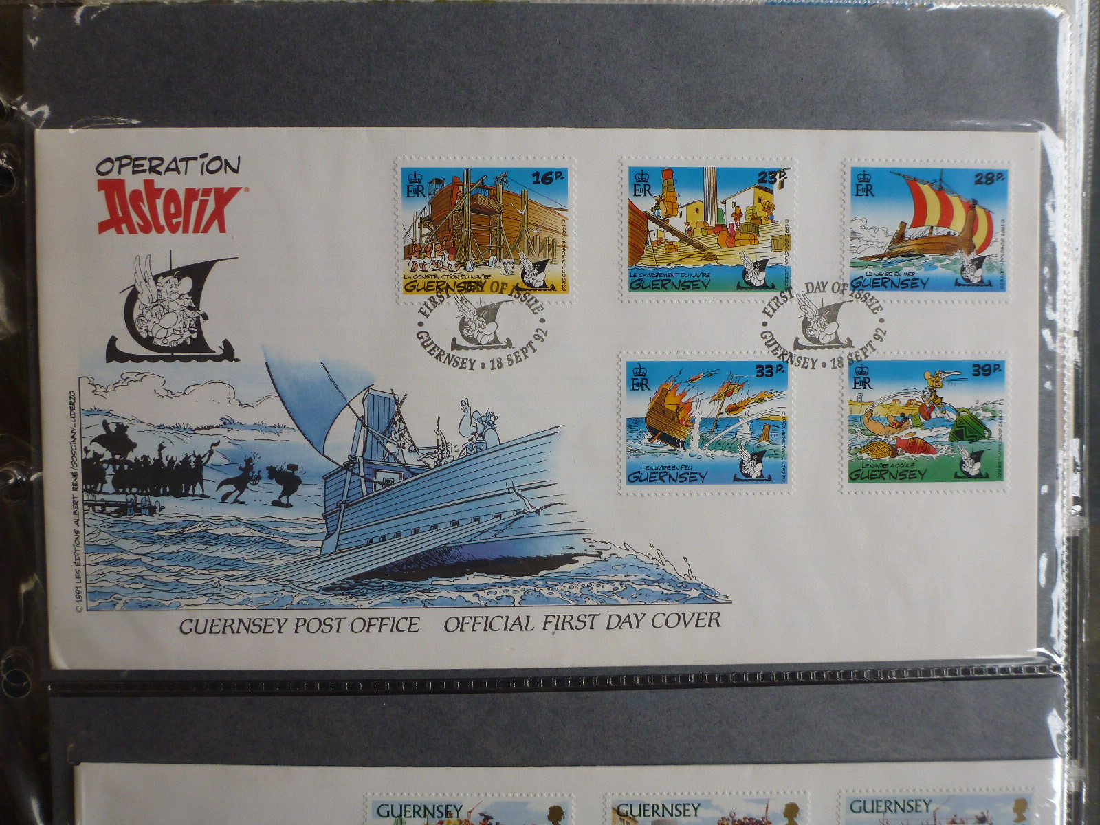 GUERNSEY 1992 OPERATION ASTERIX SET 5 STAMPS FDC FIRST DAY COVER
