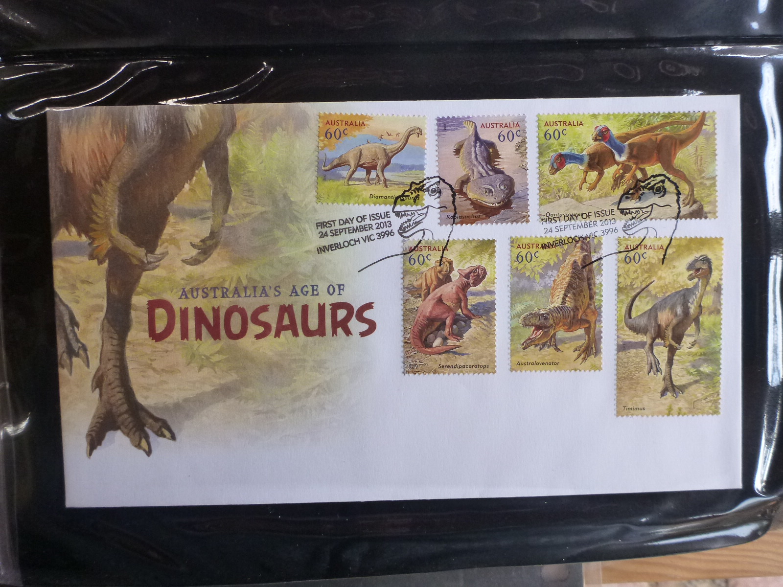 AUSTRALIA-2013-AGE-OF-DINOSAURS-SET-6-STAMPS-FDC-FIRST-DAY-COVER