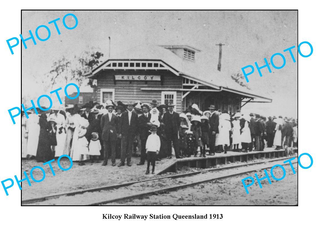 OLD-LARGE-PHOTO-QLD-KILCOY-RAILWAY-STATION-c1913