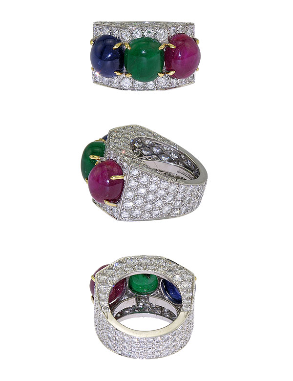 sapphire engagement rings ring stone set in cut three platinum gemstone diamond emerald